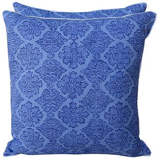 One Kings Lane Vintage Raoul Blue Linen Printed Pillows - Set of 2