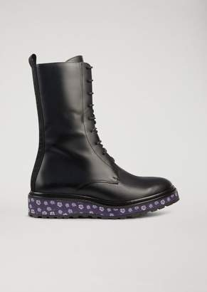 Emporio Armani Leather Combat Boots With Floral Pattern Platform Sole