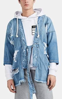 NSF Men's Distressed Denim Kimono Jacket - Blue
