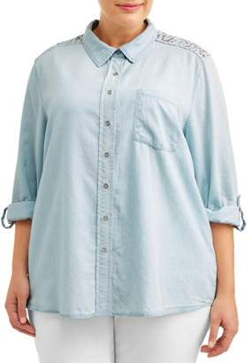 Angels Women's Plus Size Chambray Collared Shirt with Lace Yolk