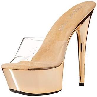 The Highest Heel Women's Amber 851 Peep Toe Mule with Solid Platform