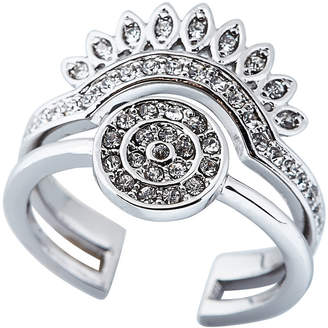 Luv Aj Silver-Tone Cosmic Coin Flare Ring Size 7.25