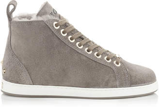 Jimmy Choo COLT/F Black Velvet Suede High Top Trainers with Shearling Lining