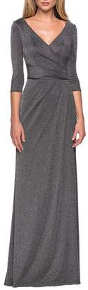La Femme Long Ruched V-Neck Sparkle Jersey Dress