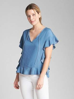 Gap Cascade Ruffle Sleeve Top in TENCEL