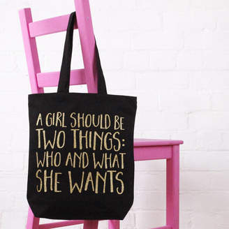 Nell Elsie & 'A Girl Should Be Two Things' Cotton Tote Bag