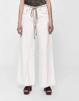 Ganni Washed Wide Leg Jean in Bright White
