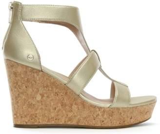 UGG Whitney Gold Metallic Wedge Sandals