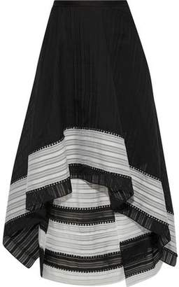 Roland Mouret Northom Layered Cotton And Silk-blend Jacquard Midi Skirt