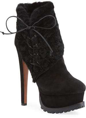 Alaia Side-Lace Lamb-Fur Platform Booties