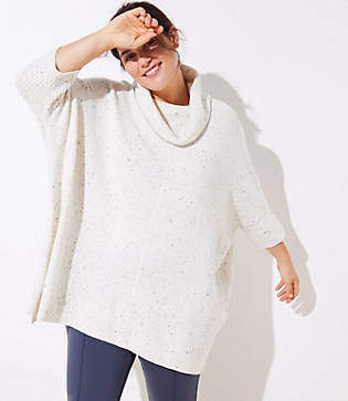 LOFT Plus Turtleneck Poncho Sweater