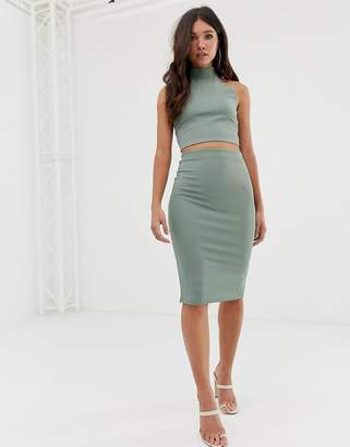 Missguided co-ord ribbed midi skirt in green