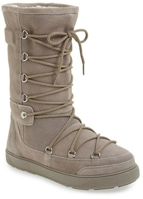 Women's Moncler 'New Laetitia' Genuine Shearling Tall Boot $565 thestylecure.com