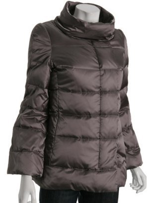 Hilary Radley silver quilted sateen down jacket