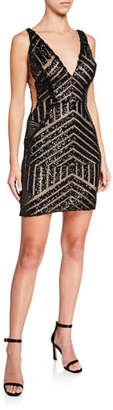 Jovani Pattern Sequined V-Neck Sleeveless Short Dress