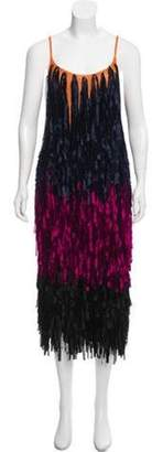 Dries Van Noten Colorblock Fringe Dress Orange Colorblock Fringe Dress