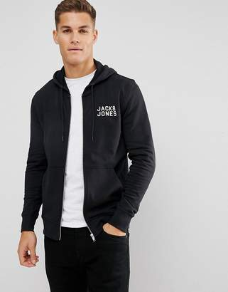 Jack and Jones Chest Logo Zip Though Hoodie