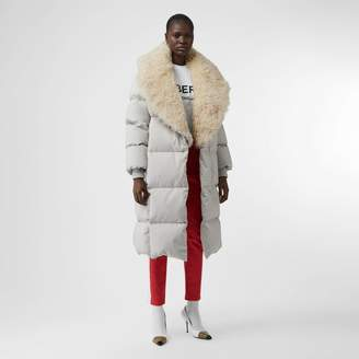 Burberry Detachable Shearling Collar Down-filled Puffer Coat