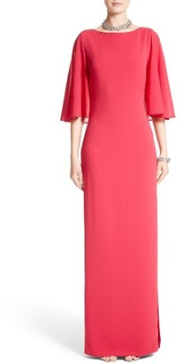 Women's St. John Evening Embellished Stretch Cady Cape Back Gown $1,595 thestylecure.com