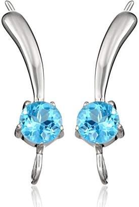 The Ear Pin Blue Topaz Solitaire Teardrop Tipped in Sterling Earrings