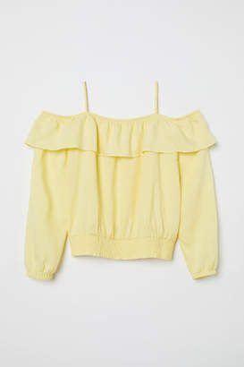 H&M Open-shoulder Blouse - Yellow