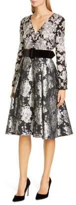 Badgley Mischka Collection Long Sleeve Jacquard Cocktail Dress
