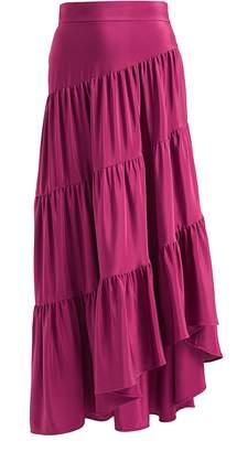 WtR - Wtr Pink Tiered Ruffle Silk Maxi Skirt