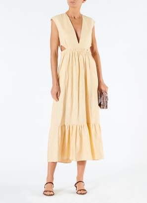 Tibi Linen Canvas V-Neck Cut Out Dress