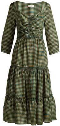Sea Ethno Pop tiered washed-silk midi dress