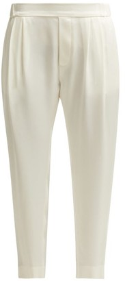 Nili Lotan Maxwell Cropped Satin Trousers - Womens - Ivory