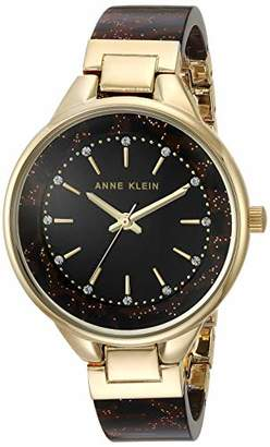 Anne Klein Women's AK/1408BKLE Swarovski Crystal Accented Gold-Tone and Leopard Patterned Shimmer Resin Bangle Watch