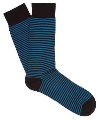 Pantherella Farringdon Striped Cotton Blend Socks - Mens - Black Navy