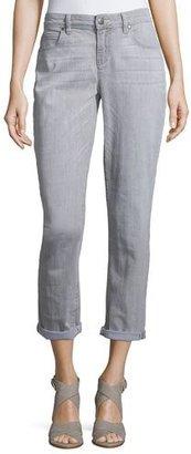 Eileen Fisher Slim-Leg Cropped Boyfriend Jeans, Vintage Gray $178 thestylecure.com