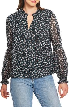 1 STATE 1.STATE Floral Ruffle Sleeve Blouse