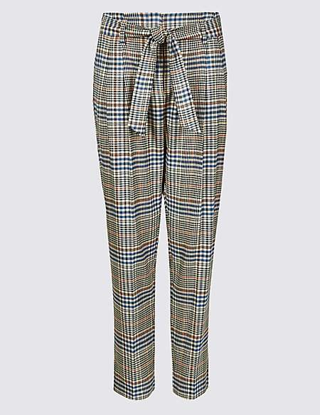 Checked Tapered Leg Trousers
