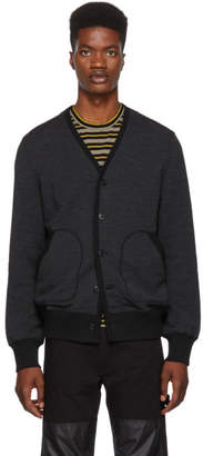 Junya Watanabe Grey and Black Comme des Garcons Edition Pile Cardigan