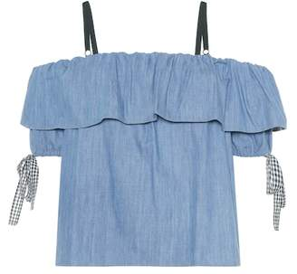 Miu Miu Chambray off-the-shoulder top