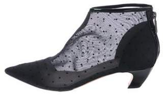Christian Dior Polka-Dot Mesh Booties Black Polka-Dot Mesh Booties