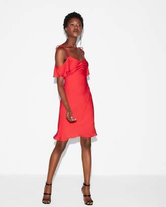 Express Satin Cold Shoulder Mini Dress