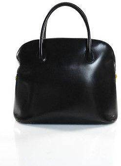 CelineCeline Vintage Black Leather Zipper Top Double Handle Satchel Handbag