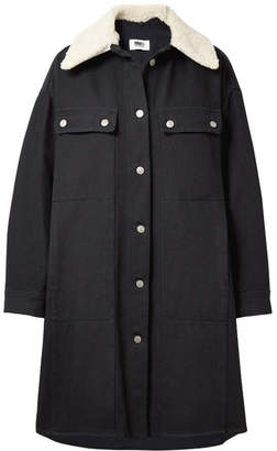 MM6 MAISON MARGIELA Oversized Faux Shearling-trimmed Cotton-blend Drill Coat - Navy
