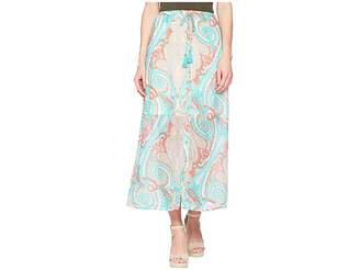 Tribal Printed 37 Pull-On Maxi Skirt with Tassel Women's Skirt
