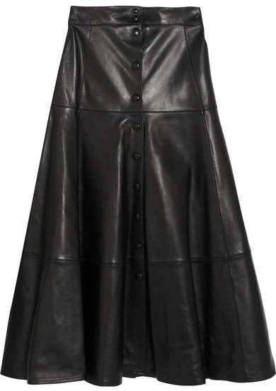 Michael Kors Collection - Leather Midi Skirt - Black