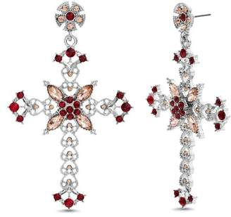 Steve Madden Rhinestone Cross Drop Earrings