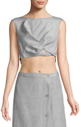 Rachel Comey Silk-Blend Sleeveless Cropped Argento Top