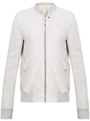 Rick Owens Zip Through Cracked Leather Bomber Jacket - Mens - White