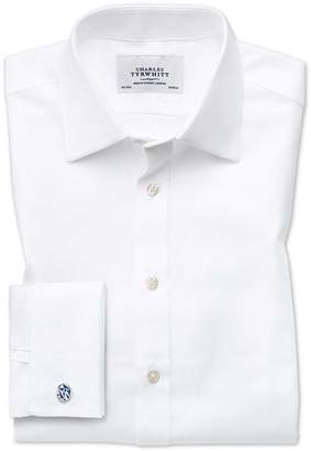 Charles Tyrwhitt Classic Fit Egyptian Cotton Cavalry Twill White Dress Shirt French Cuff Size 16/38