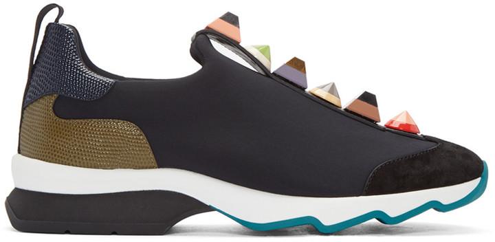 Fendi Black Studded Sneakers