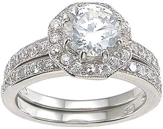Plutus Brands CZ 925 Sterling Silver Rhodium Finish Antique Style Engagement Set Ring