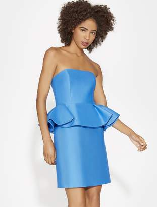 Halston STRAPLESS SILK FAILLE PEPLUM DRESS